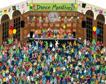 Dance Marathon Lithograph or Canvas Print, Fund Raiser Cancer