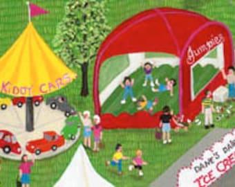 County Fair painting, farm art, bouncy ride, kiddie cars, Art Print