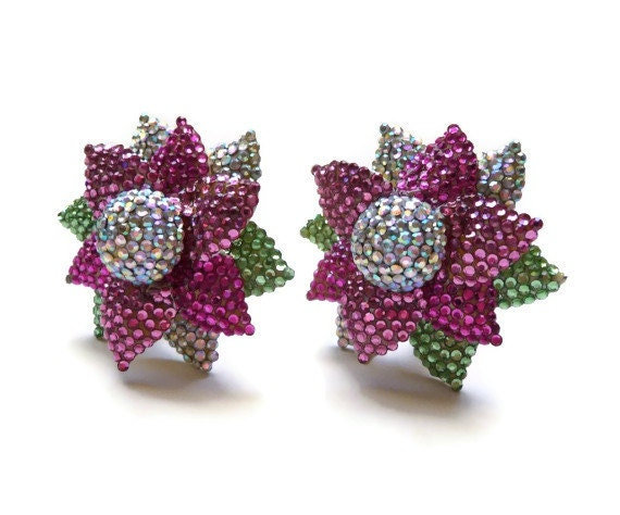 Massive 1980s Rhinestone and Enamel Flower Earring