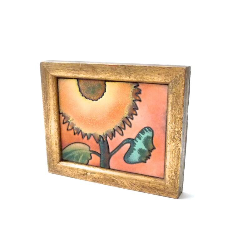 James Parker Modernist Enamel Wall Hanging  Flower Sunflower image 0
