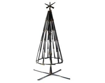 RESERVED Brutal Modernist Christmas Tree Nail Sculpture