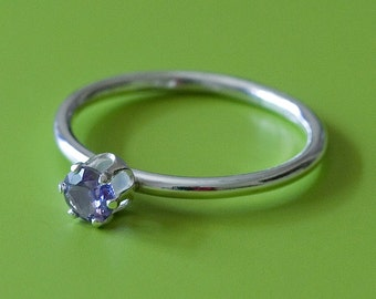 Alexandrite Faceted Stacking Ring - Sterling Silver - Size 7 - CAPIC Cats Fundraiser
