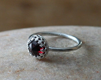 Rose Cut Garnet Ring, Gallery Crown Bezel, Sterling Silver Ring, Gemstone Ring, Stacking Ring, Princess Ring,January Birthstone,Size 2 to 15