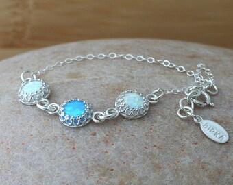 Thin  Delicate 8 mm Triple Opal Bracelet in Sterling Silver, Gift for Her, Minimal Bracelet, October Birthstone, Simulated White Blue Opal