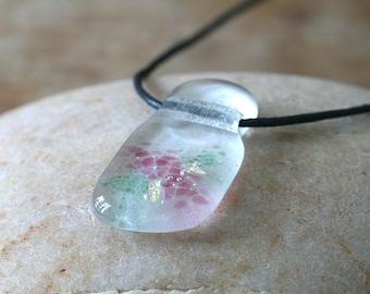 Animal Charity NBHA Fused Glass Pendant Dichroic, OOAK, Gift for Her, Womens Jewelry, Handmade Fused Glass Necklace, Glass Jewelry for Mom