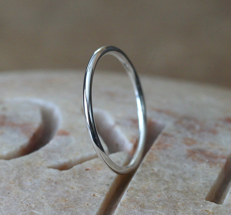 e6fa76fda9c6d Stacking Ring Sterling Silver, Medium Thick Ring 1.3 mm, Skinny Stacking  Ring, Small Silver Stacking Ring