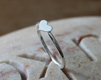 Silver Heart Stacking Ring • Sterling Silver • Love Ring • Friendship Ring • Size 2 to 15 • Friendship Ring • Womens Ring • Gift for Her