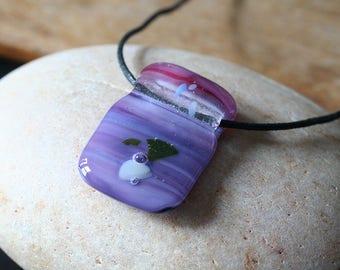 Animal Charity NBHA, Fused Glass Pendant Purple Skyline, OOAK, Gift for Her,Womens Jewelry,Handmade Purple Pink Fused Glass Necklace Jewelry