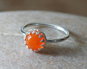 ANIMAL Charity NBHA -Orange Vintage Tangerine Glass Stacking Ring Crown Princess, Sterling Silver Ring, Size 2 to 15. Gift for Her, Womens