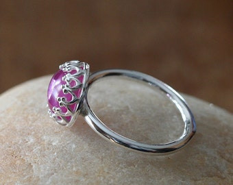 Pink Sapphire Stacking Ring 8 mm or 6 mm Sterling Silver Ring, Princess Crown Bezel Gemstone, Size 2 to 15,October Birthstone,Womens Jewelry