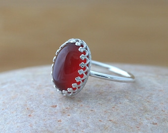 Carnelian Ring 14x10 mm, Gallery Bezel, Sterling Silver Gemstone, Crown,Princess, Size 2 to 15, Womens Ring, Onyx Jewelry, Stacking Ring