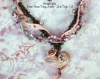 Handmade Pink Heart Pendant Necklace with Copper Chain Crystal Dangle and Cotton Print Fabric Ribbon One of a Kind