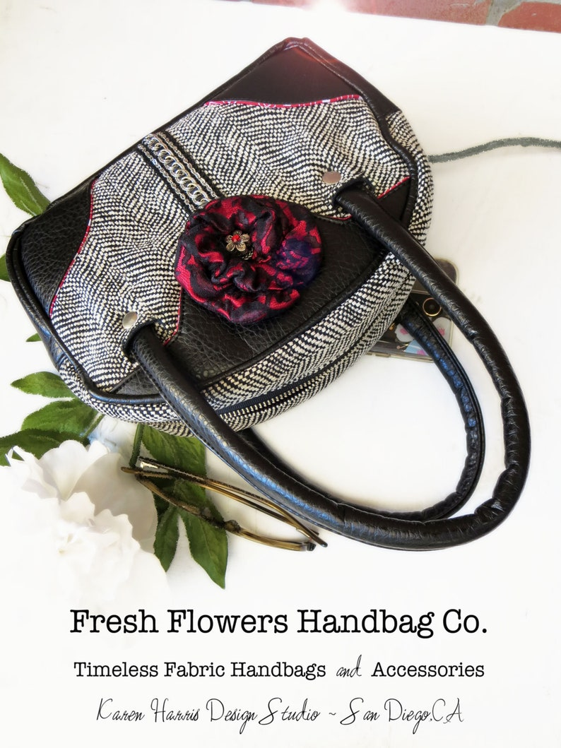 72e8051a2f3d Bags and Purses Women's Handbags Handmade Purses Fabric Vegan Handbags  Small Satchel Black and Cream Handbag Petite Handbag Classic Handbag