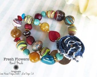 Charm Bracelet Beaded Bracelet Love Charm Handmade Bracelet Gift for Her Shabby Chic Denim Flower Eclectic Mix Statement Jewelry Boho Chic
