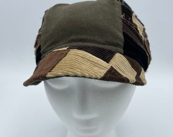 Patchwork Fray Reversible Hat Green Tan & Brown