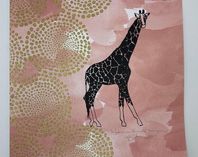 Giraffe Pink & Gold 12 x 12 Print