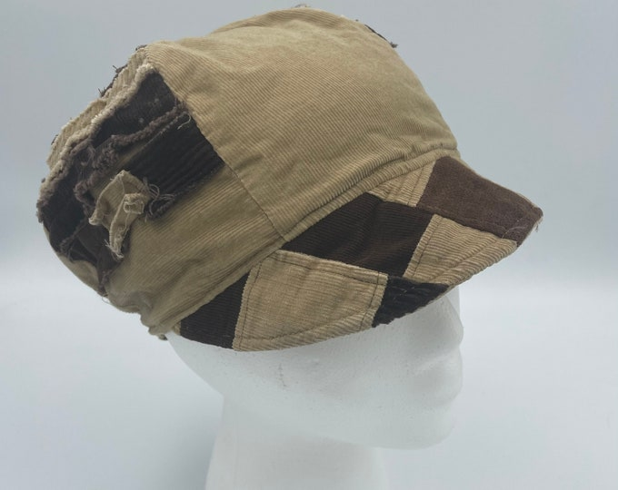 Patchwork Fray Reversible Hat Tan