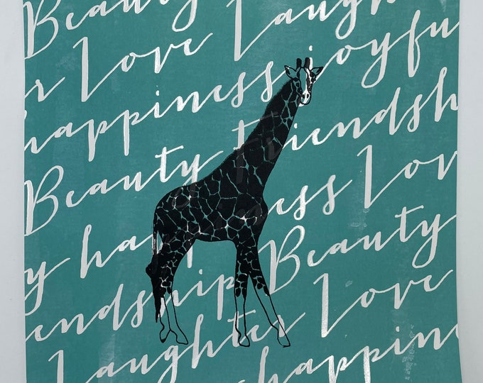 Giraffe Love Laughter Happiness Beauty 12 x 12 Print