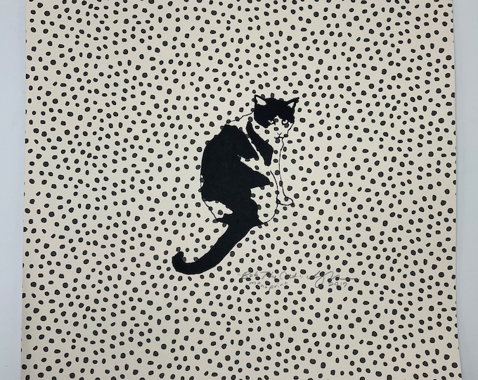 Cat Gold Polka Dots 12 x 12 Print