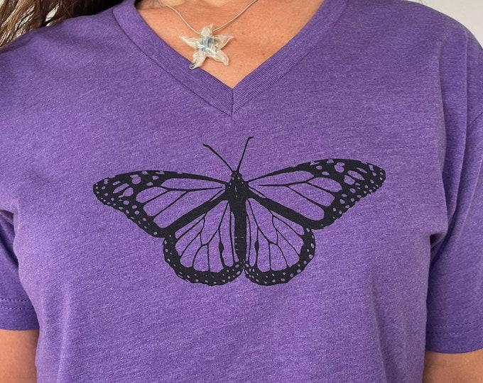 Purple Butterfly Tshirt Vneck Unisex