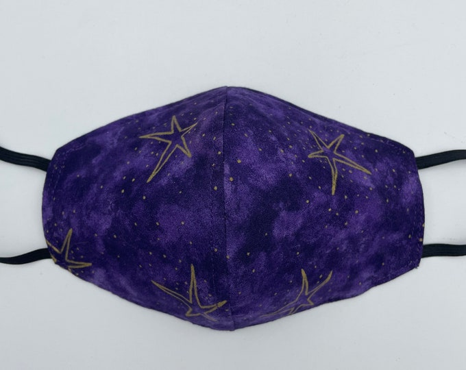 Fabric Mask Purple Stars Reversible to Black