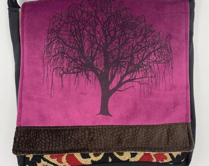 """Tree Messenger Bag 10"""" Willow Purple Velvet"""