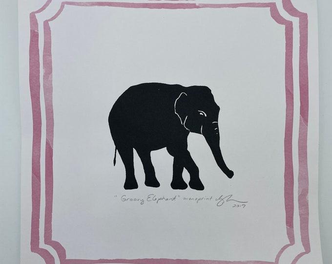 Elephant Pink Border 12 x 12 Print