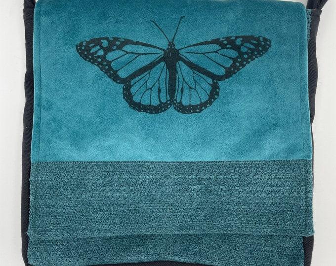 """Butterfly Messenger Bag 10"""" Blue Velvet"""