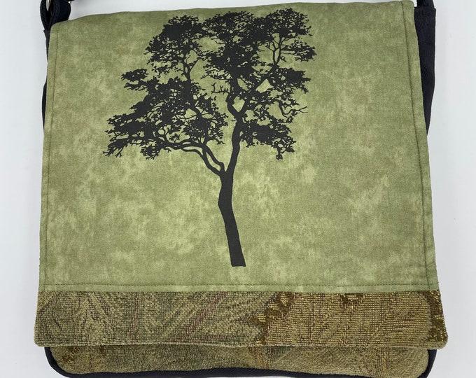 "Tree Messenger Bag 12"" Elm Green and Brown"