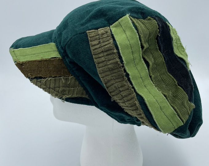 Patchwork Corduroy Fray Newsboy Hat Green