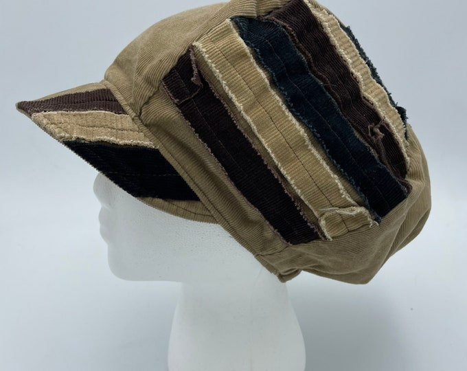 Patchwork Corduroy Fray Newsboy Hat Tan