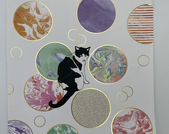 Cat & Colorful Circles Print