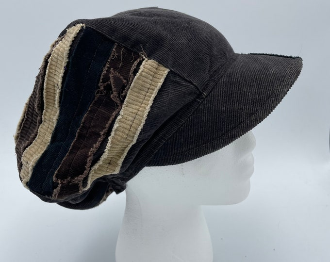 Patchwork Corduroy Fray Newsboy Hat Brown