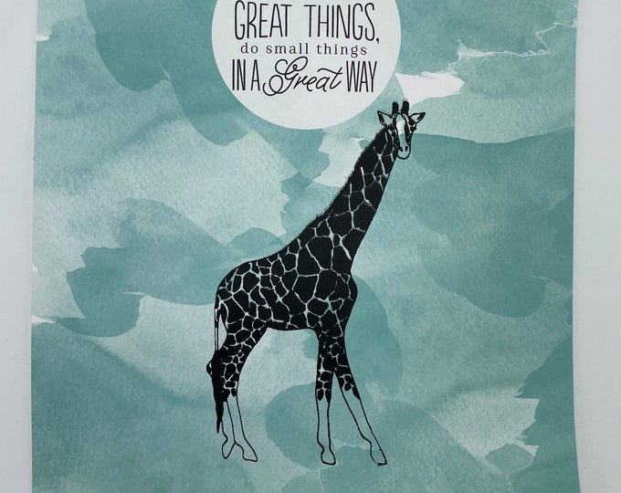 Giraffe Great Things 12 x 12 Print
