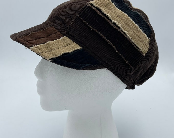 Patchwork Fray Reversible Hat Brown