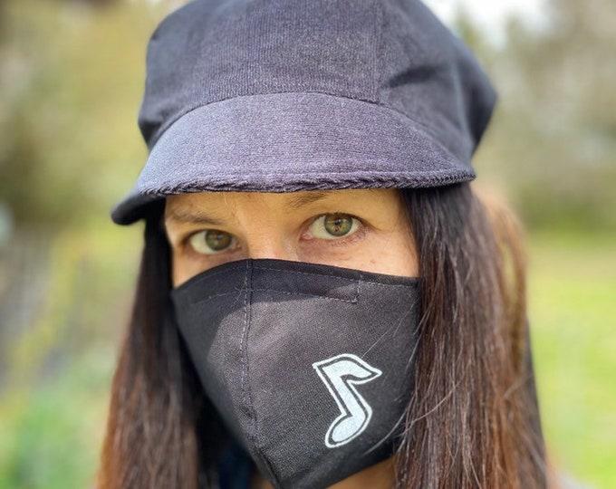Music Note Fabric Mask Black