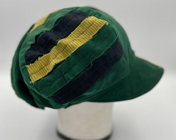 Patchwork Corduroy Fray Newsboy Hat Emerald Green