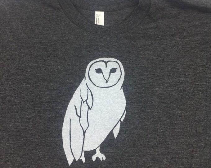 Owl Tshirt Heather Gray Unisex Crew Neck