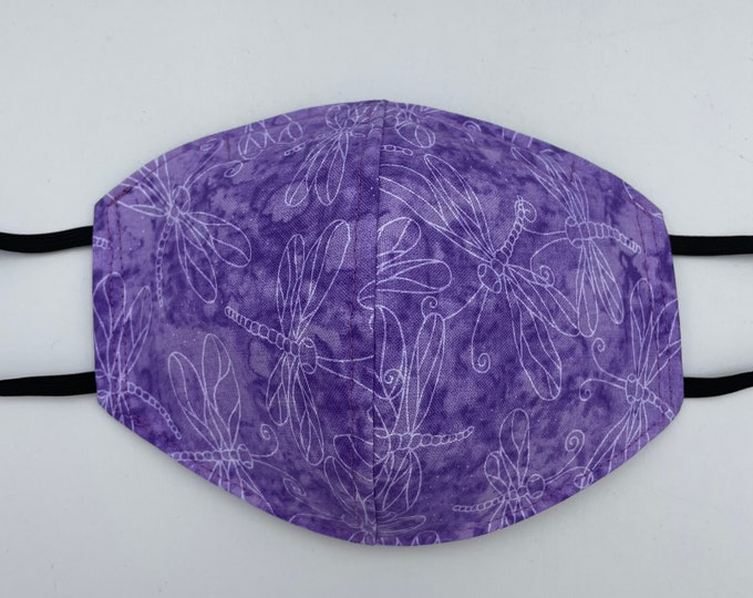 Fabric Mask Purple Dragonflies Reversible to Black