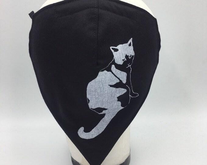 Fabric Bandana Mask Black with Cat Print