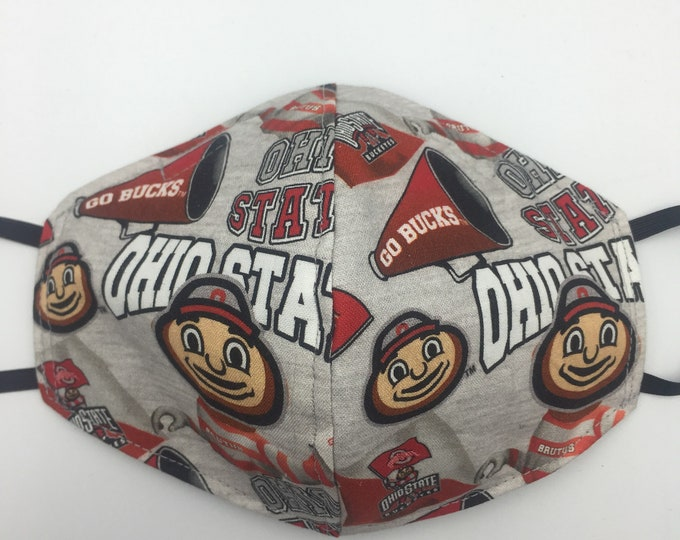 Fabric Mask Gray Ohio State Reversible to Black