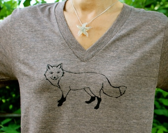 V Neck Fox Tshirt Tan XS,S,M,L,XL, 2XL