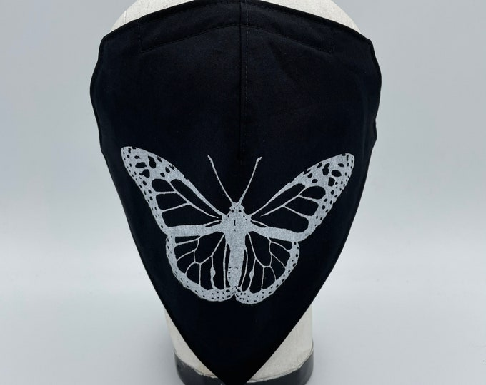 Fabric Bandana Mask Black with Butterfly Print