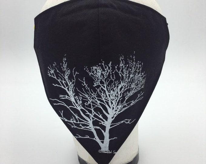 Fabric Bandana Mask Sycamore Tree Reverses to Black