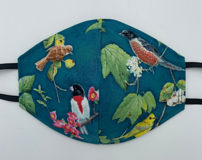 Fabric Mask Teal Birds Reversible to Black