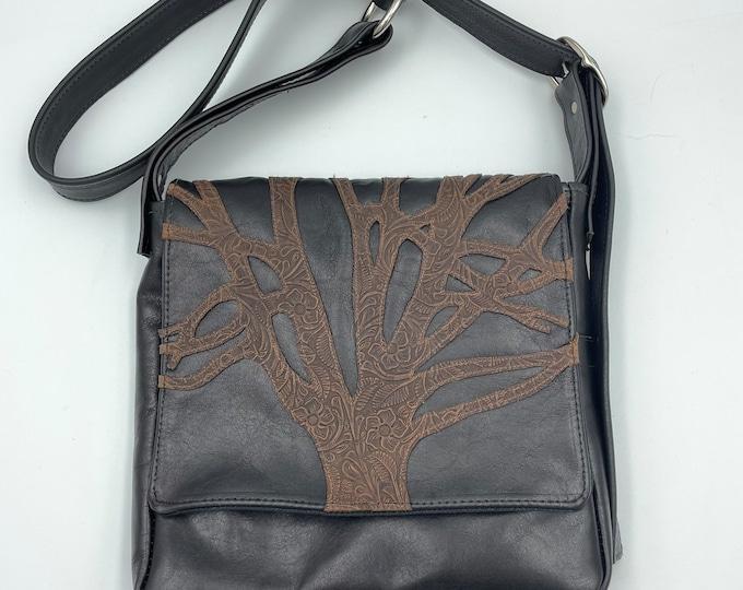 Leather Messenger Bag Black & Brown 10 x 10