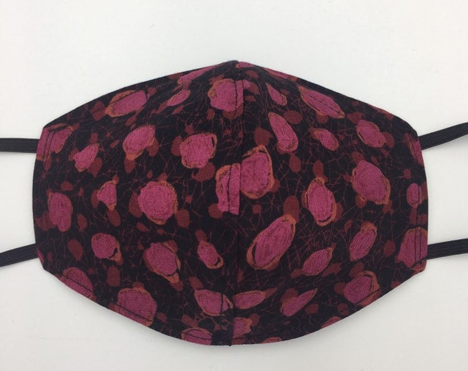 Fabric Mask Black w/Red Roses Reversible