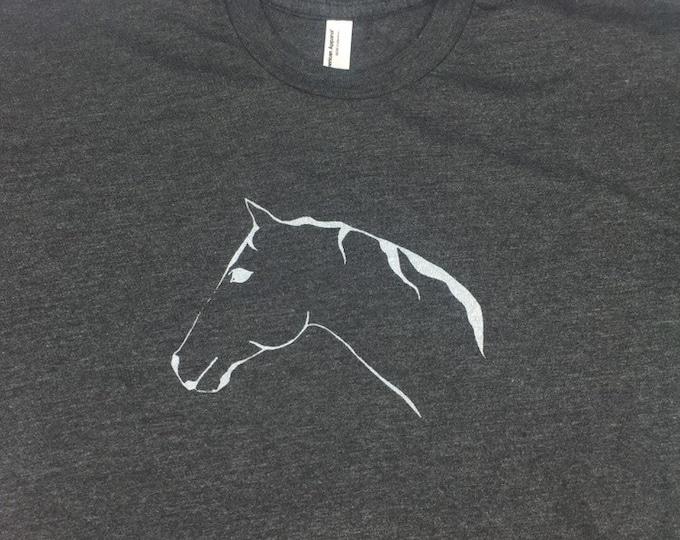 Horse Tshirt Heather Gray Unisex Crew Neck