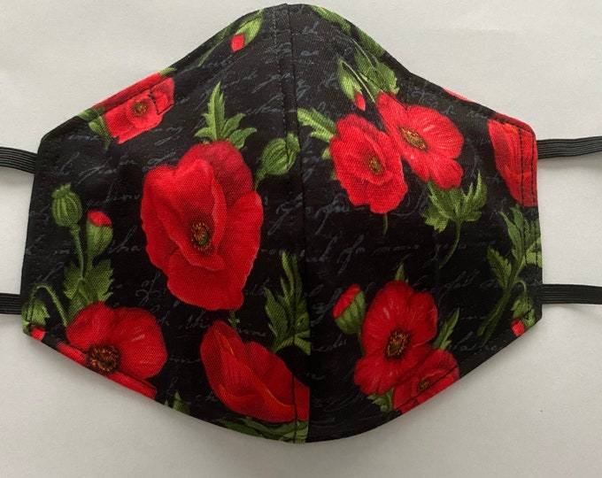 Fabric Mask Poppies with Gray Script