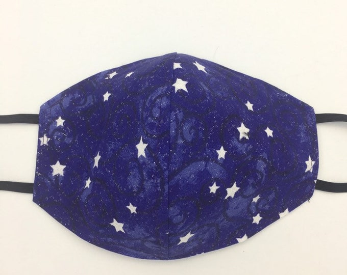 Fabric Mask Blue Stars Reversible to Black